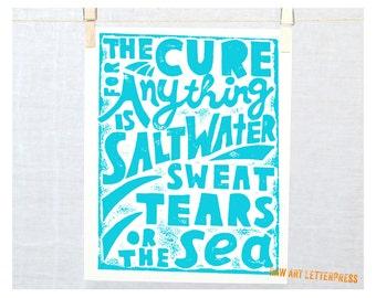 Ocean Quote, Wall Art, Karen Blixen Tears Quote, Sympathy Gift, Nautical, Wall Art, Ocean theme,