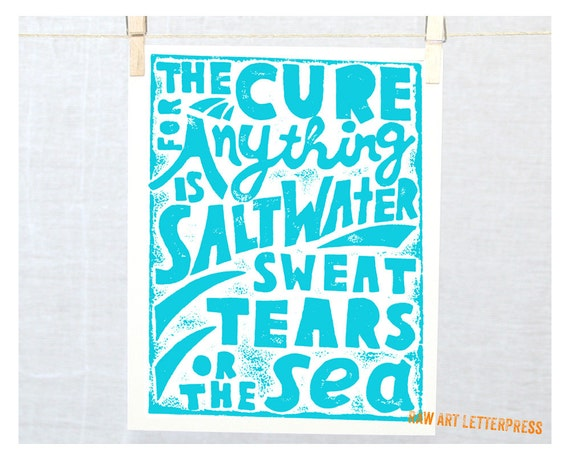 Ocean Quote, Wall Art, Karen Blixen Tears Quote, Sympathy Gift, Nautical, Wall Art, Ocean theme,
