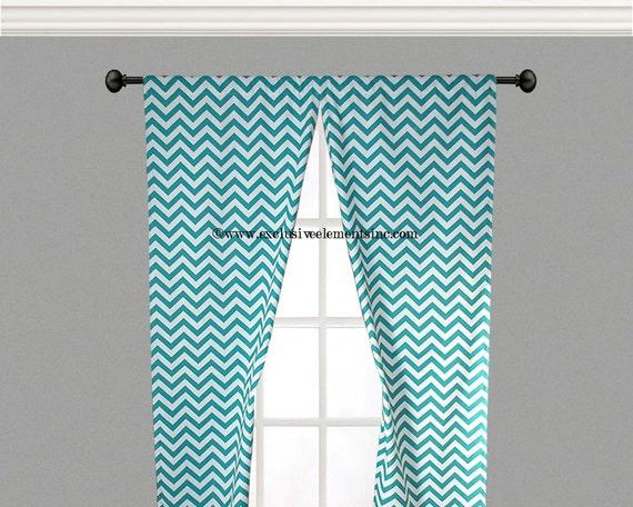 Turquoise blue curtain panels chevron curtains drapery window