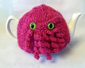 Made to Order - Pink Curly Cthulhu Tea Cosy - a warm, whimsical, hand knit sweater for your teapot