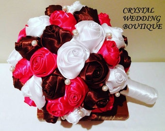 Fuschia, Brown and White satin rolled roses interspersed with Swarovski Crystals bouquet