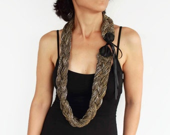 Stylish Braided Scarf, Gold Silver Shimmering, Leather Accent,  Cowl Collar, Necklace, Neck Warmer, Bow, Handmade, Limited Production