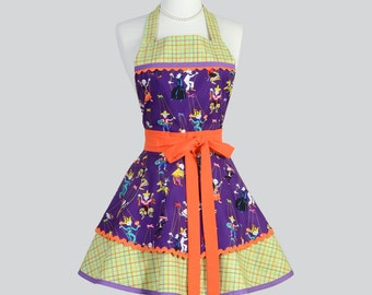 Ruffled Retro Apron . Womens Apron Cute Folklore Marionetes Purple Floral Ruffled Apron Full Apron Personalize or Monogram