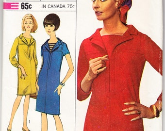 Vintage 1966 Simplicity 6737 UNCUT Designer Fashion Sewing Pattern Misses' One-Piece Dress Size 12 Bust 32