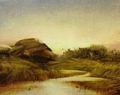 Original Tonalist Landscape Oil Painting on linen panel by New York Artist, Woodie Webber