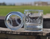 Personalized Etched Baseball Rocks Glasses Pair for Dad, Father, Coach, Referee, Umpires by Jackglass on Etsy