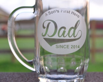 Dad Glass Mug Etched by JackGlass on Etsy