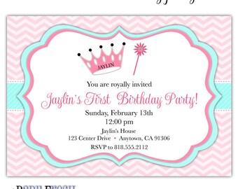 Crown Royal Princess Birthday Invitation • Fairy Princess Party Invite • PRINTED on CARDSTOCK