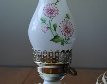 White Milk Glass Table Lamp with Lavender Floral Embellishments - cottage chic