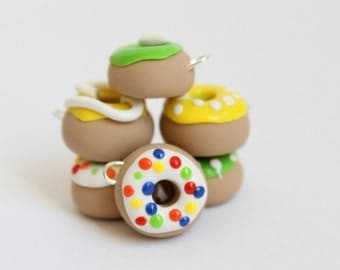 Colorful Donut Charms, Polymer Clay Donut Charms, Jewelry Supply