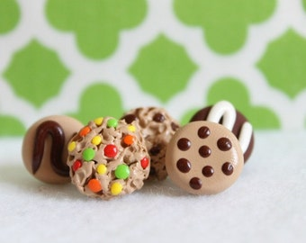 Polymer Clay Cookie Pushpins, Set of 5