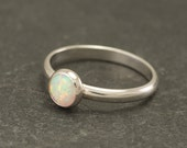 Opal Ring - Silver Opal Ring- Opal Engagement Ring - Simple Modern Opal Ring- Sterling Silver Gemstone Ring- Handmade Silver Jewelry