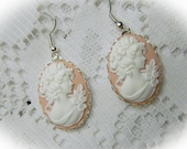 Jane Austen Earrings - PRIDE and PREJUDICE -  Cameo Earrings - Southern Belle - Pink and white - Silver - Emma - Lady Cameo- Goddess
