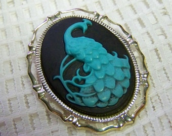 Blue Peacock Brooch - Peacock Blue Brooch - Turquoise and Black - Blue and Black
