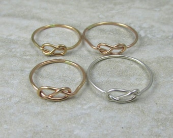 Four Love Knot Rings / Bridesmaid Rings / Infinity Ring / Graduation Gift / Sisters Rings / Mother Daughters Rings Tie the Knot Ring