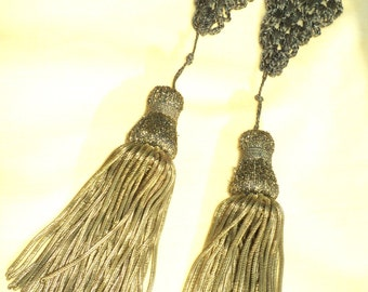 19th C European Gold Metallic Bullion Tassels Tassles Pair Woven Metallic Tops Antique Restoration Pillows