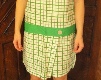 1960s Vintage Romper Jumpsuit Culottes Pants Shift Green White