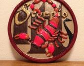 1970s Scorpio Zodiac Round Circle Wall Hanging Plaque Scorpion Horoscope