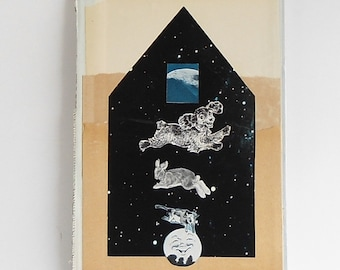 Cow Jumped Over The Moon - Original Vintage Paper Collage - Altered Book Cover