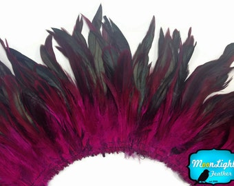 Rooster Feathers, 4 Inch Strip - PINK Half Bronze Strung Rooster Schlappen Feathers : 712