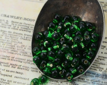 Silver Lined Green Miyuki Glass Fringe Beads or Beads and Jump Rings
