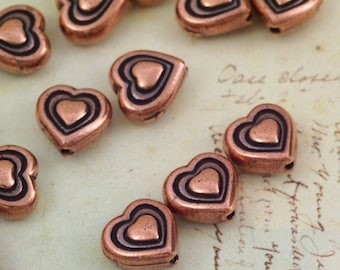 SALE 3 - 8mm Copper Heart Beads - Made in the USA Tierra Cast  - Clearance
