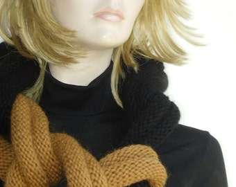 50% off with coupon code -Hand knitted Luxury wool Infinity Designer Fashion Mustard  Amber Black Scarf Necklace