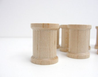 Wooden spools 1 3/16 inch set of 12, Little wood spools