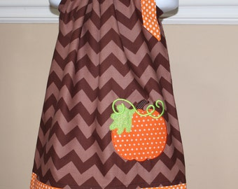 fall dress,  appliqued pillowcase dress, pumpkin a great thanksgiving outfit, brown chevron, orange polka dots, toddler dresses