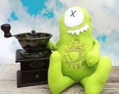Coffee monster, monster plush, stuffed animal, java green
