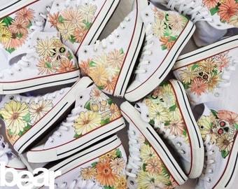 Custom Wedding Shoes - Hand Painted Custom Shoes with Flowers, Leaves, and Sugar Skulls
