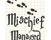Mischief Managed Embroidery design pattern 5 x 7 inches - INSTANT Download