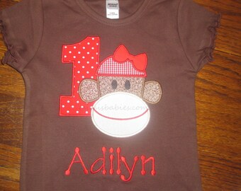 Sock Monkey Girls First Birthday Shirt Adilyn