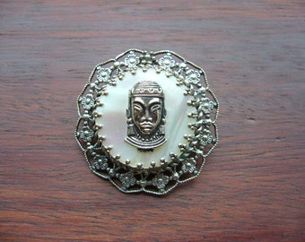SALE Vintage Eastern Faces Brooch Silver & Mother of Pearl