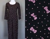 Vintage Romper Jumsuit Play Suit Bow Print and Polka Dots Black Pink Rayon Long Sleeve Petite Small Medium