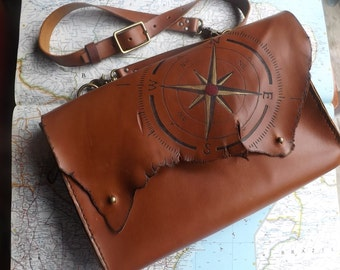 British Tan Leather Messenger Bag Satchel Cross body Compass wind rose Unisex Very Dashing