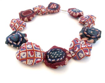 Collar fiber necklace, alternative fiber beads necklace, exquisite chocolate fiber jewel,