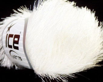Optical White Eyelash Yarn Ice 22744 - Bright White Fun Fur yarn