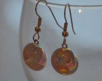Fused Glass Earrings in Pink Dichroic Glass, SRAJD