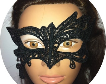 Abstract Embroidered Black Lace Mask