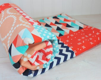 Baby Blanket, Unisex Patchwork Baby Blanket, Gender Neutral Nursery, Photo Prop, Stroller Blanket, Coral, Peach, Aqua Blue, Navy Blue, Teal