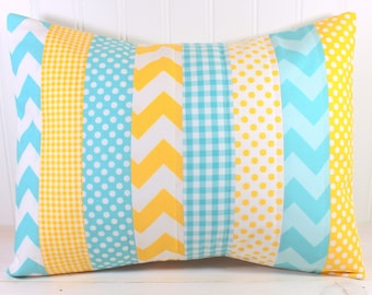 Designer Pillow Cover, Gender Neutral Nursery Decor, Boy or Girl Nursery Pillow, Yellow, Aqua Blue, Chevron, Gingham, Dots,12 x 16 Inches