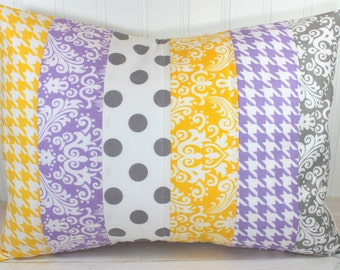 Pillow Cover, Nursery Cushion Cover, Baby Girl Nursery Decor, Pillow Cover, 12 x 16 Inches,Lavender, Purple, Yellow, Gray Houndstooth,Damask