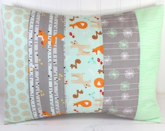 Pillow Cover, Unisex Nursery Decor, Boy or Girl Room, Woodland Animals, 12 x 16 Inches, Nursery Pillow Cover, Mint Green, Gray, Foxes, Trees