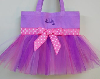 Naptime 21, Embroidered Dance Bag Purple Tote Bag with Purple and Pink Tulle and Pink Polka Dot Ribbon MINI Tutu Tote Bag - MTB989 - CH