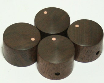 Set of 4 Walnut Guitar Knobs with Copper Indicator Dot (7/8dia x 5/8h)