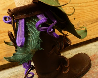 Mid-Calf Forest Boot / Purple Leaves Tall Moccasin Hand Stitched Bullhide Leather Durable VIBRAM sole / Renaissance Hobbit shoes  LARP