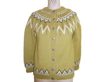Vintage Scandinavian Wool Cardigan Ski Sweater Handknit in Denmark Size Small