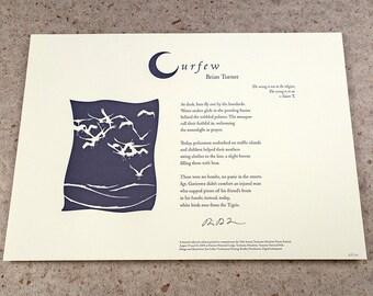 """Letterpress Poetry Print - """"Curfew"""" - poet Brian Turner, art & design by Jim Cokas"""