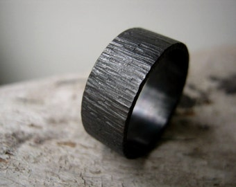 BIRCH Bark Texture WIDE Hammered Ring -Oxidized- Rustic Heavy Sterling Silver Band - 10mm Wide Alternative Wedding Band